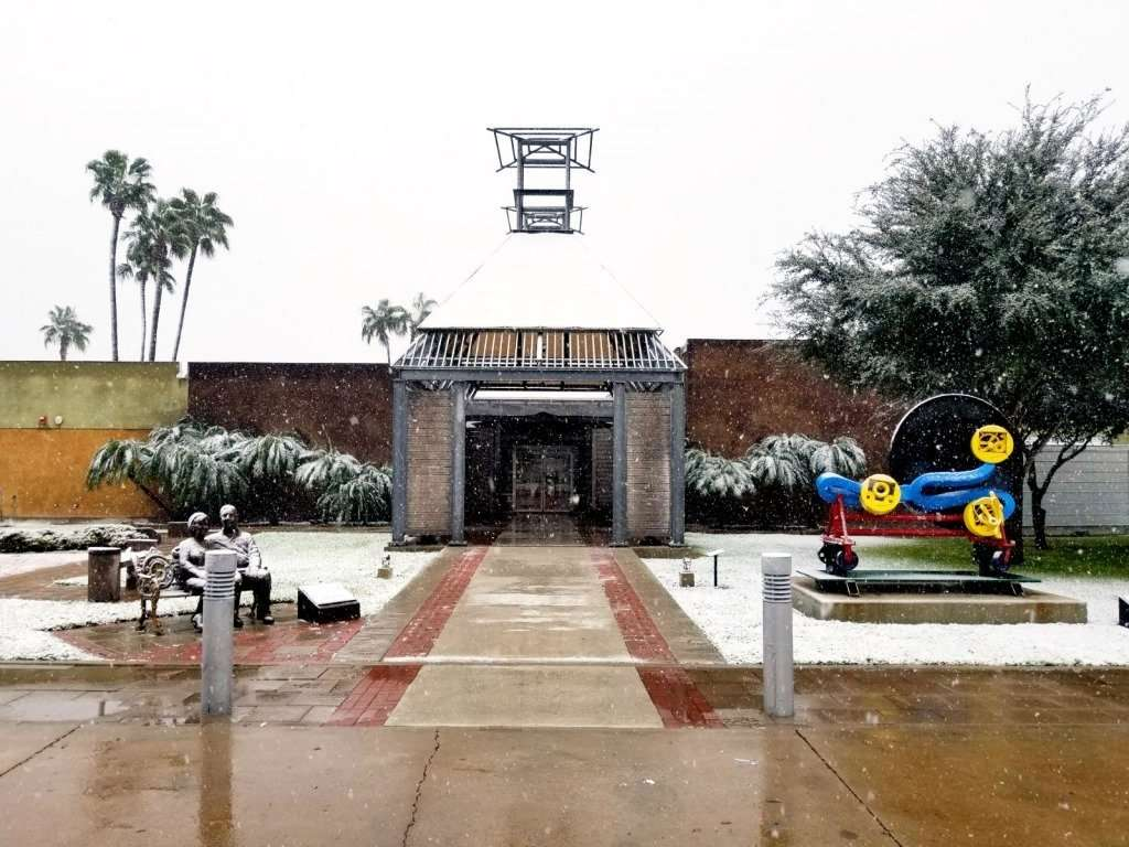 Snow on the Museum building